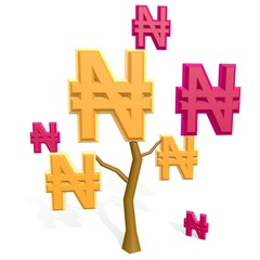 3d naira sign on a tree