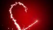 Glowing neon heart and valentines message