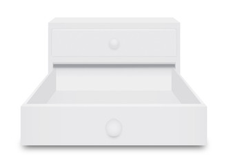 Drawer Box opening 3 dimension over white  background