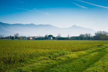 Panorama, colline e vallata Toscana, Italia