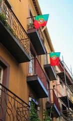 Portuguese flags in Porto, Portugal