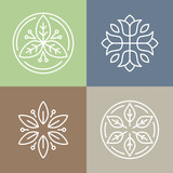 Fototapety Vector floral icons and logos