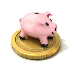 Piggy bank money box standing on gold coin. Isolated on a white