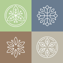Vector floral icons and logos