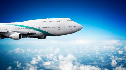 Very big passenger plane in flight