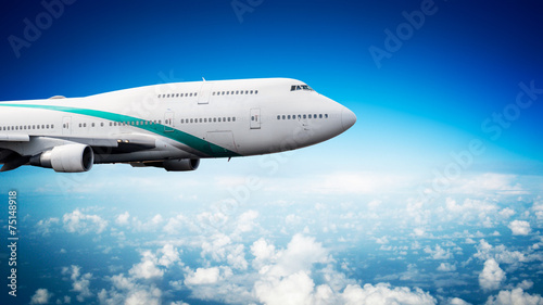 Very big passenger plane in flight