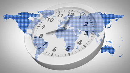 Clock ticking against world map
