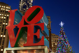 Love Park Sculpture at Christmas