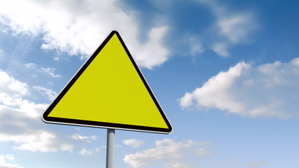 Empty yellow road sign over cloudy sky