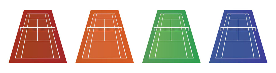 Different types of tennis courts - clay, grass and other