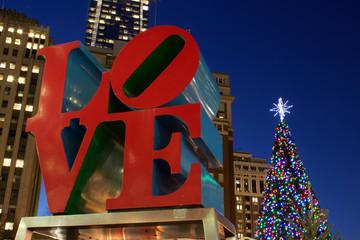 Love Park Sculpture at Christmas