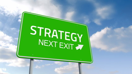 Strategy and next exit road sign over cloudy sky