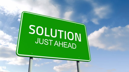 Solution and just ahead road sign over cloudy sky