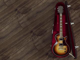 Guitar on wooden background. High resolution.