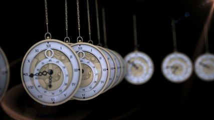 Hanging pocket watches ticking in a row
