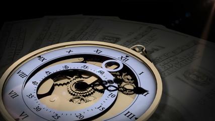 Pocket watch ticking on dollar bills