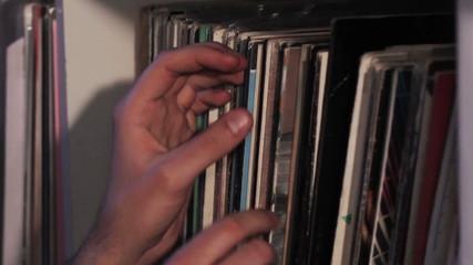 Hand touches vinyl