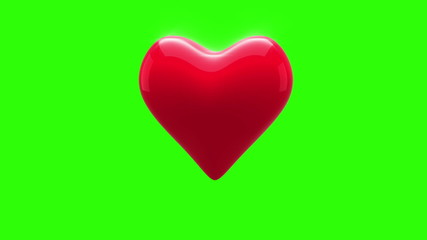 Red heart thumping on green background
