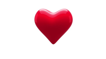 Red heart thumping on white background