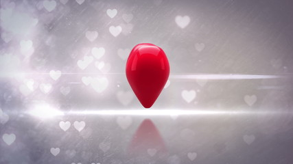 Red heart turning and exploding on glittering background