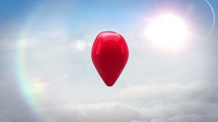 Red heart turning and exploding over blue sky