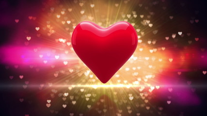 Red heart turning on glittering background