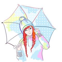 Зима, рыжая девушка с зонтиком