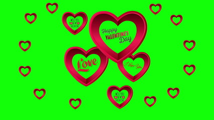Valentines Day vector with hearts on green background