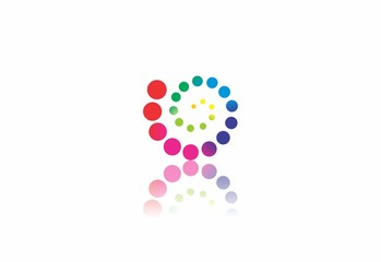 rainbow circle sphere and dot colorfull logo vector