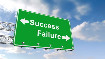 Success and failure sign against blue sky