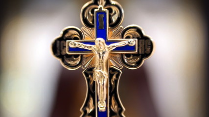 Gold Cross with Jesus Christ
