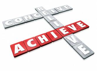 Conceive Believe Achieve Word Letter Tiles Success Ideas Effort
