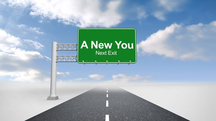 A new you sign over open road