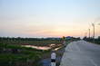 Sunset time at countryside in Nonthaburi Thailand