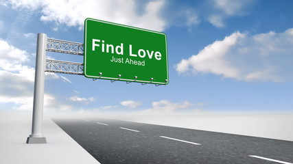 Find love sign over open road