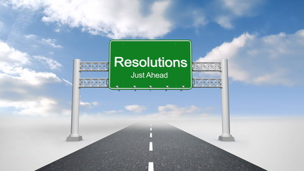Resolutions just ahead sign against blue sky