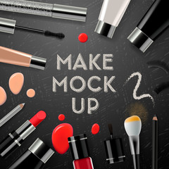 Makeup mockup with collection cosmetics and accessories