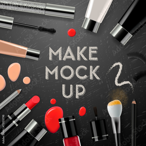 Makeup mockup with collection cosmetics and accessories - 75155798