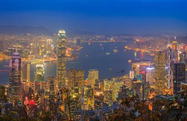 Hong Kong Skyscraper Night