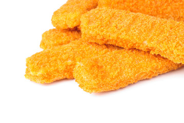 fish sticks on a white background