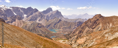 Panorama of the mountains. Lake Kulikolon. Pamir, Tajikistan. HD © nikitamaykov