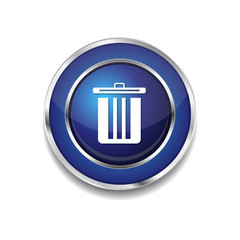 Recycle Bin Blue Vector Icon Button