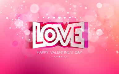 Vector paper curved inscription love on a pink background