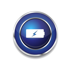 Battery Blue Vector Icon Button