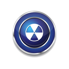 Nuclear Sign Blue Vector Icon Button