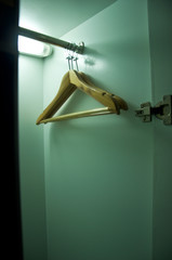 wood hanger in the cabinet