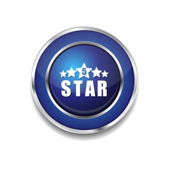 5 Star Blue Vector Icon Button