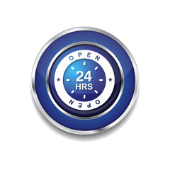 24 Hours Open Blue Vector Icon Button