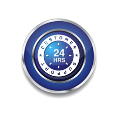 24 Hours Customer Support Blue Vector Icon