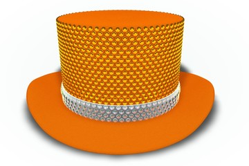 Orange Rhinestones Top Hat